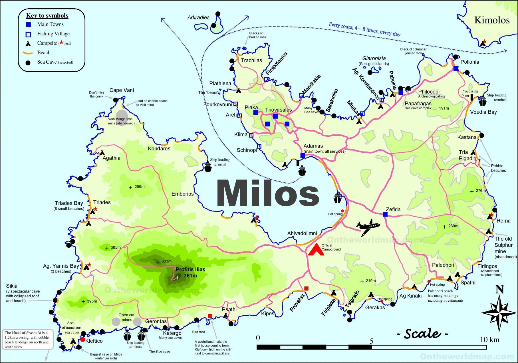 Milos en Grèce carte   carte de milos en Grèce (Europe du Sud