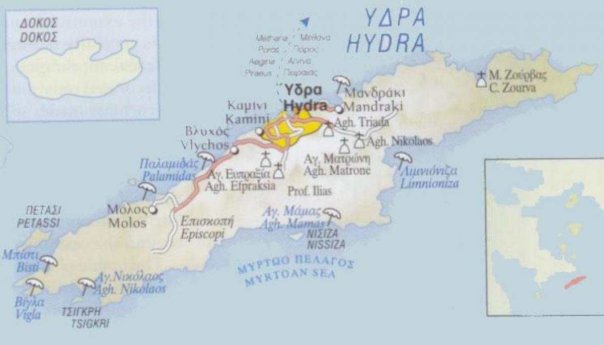 Hydra Grèce carte   carte de Hydra, Grèce (Europe du Sud   Europe)
